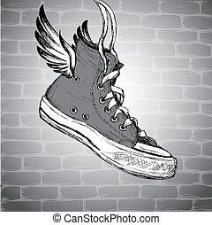 Vintage Sneakers Hand Drawn - Vintage Sneakers with wings...