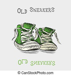 Vintage Sneakers Hand Drawn, vector illustration