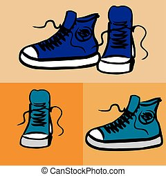 Sneakers Hand drawn vector illustration