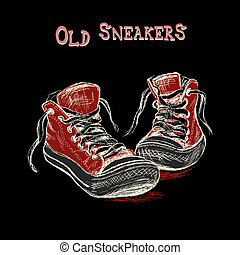 Vintage Sneakers Hand Drawn on black background, vector...