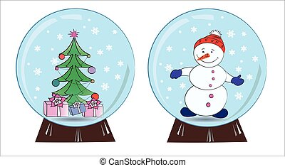 snowman and Christmas tree in a snow globe