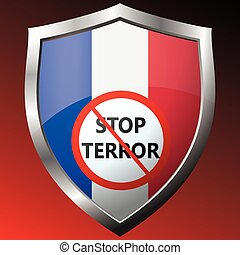 Stop terror.icon with the French flag. Vector illustration