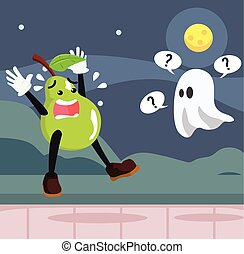 pear man afraid of ghost