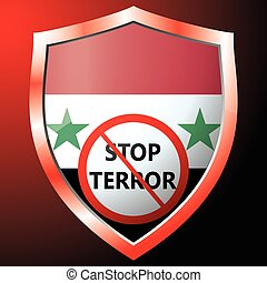 Stop terror icon with the flag of Syria. Vector illustration