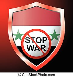 Stop war icon with the flag of Syria. Vector illustration