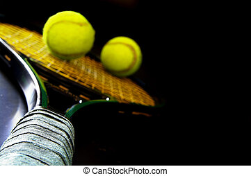 Closeup of a tennis racket, shallow DOF, handle is sharp