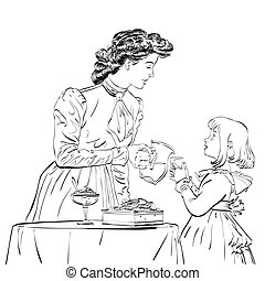 Aristocrat mother pouring her daughter a juice, hand drawn...