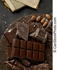 Rustic chocolate on trencher - Dark chocolate on trencher...