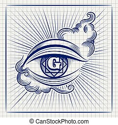 Egypt God eye ball pen sketch - Ball pen sketch of Egypt God...