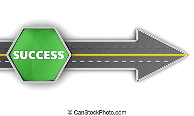 road to success - 3d illustration of road with direction to...