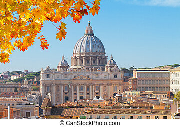 St. Peter's cathedral in Rome, Italy - cityline of Rome with...