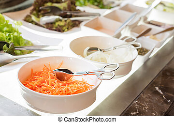 salad bar - Salad bar with vegetables, healthy food. Close...