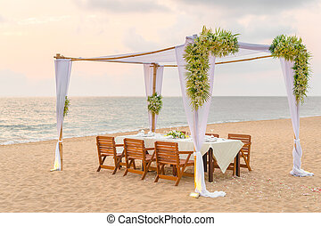 romantic dinner setting - Romantic dinner setting on the...