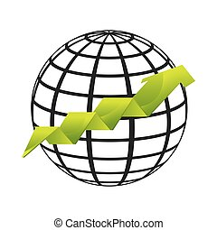world planet with statistical graphic vector illustration...