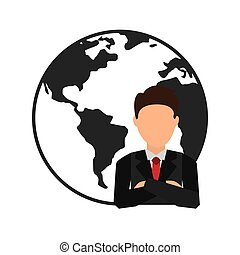 world planet with businesman vector illustration design