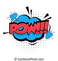 Comic sound effects pop art Lettering POW