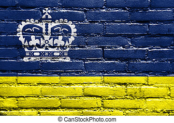 Flag of Regina, Canada, painted on brick wall