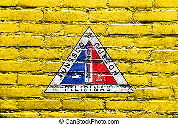 Flag of Quezon City, Philippines, painted on brick wall