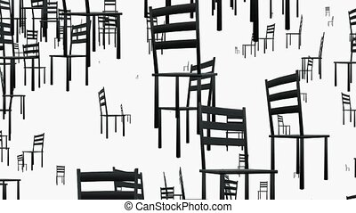 Rotating chairs in black on white