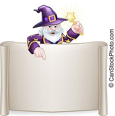 Scroll Sign Cartoon Wizard - A cartoon wizard Halloween...