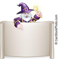 Scroll Sign Cartoon Wizard