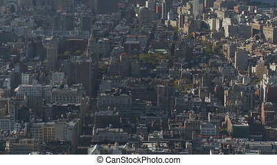 vertical pan shot manhattan close - vertical pan shot over...