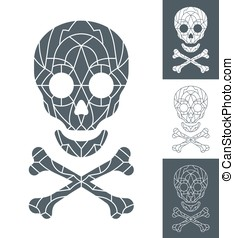 Skull and crossbones with mosaic pattern - Vector of skull...