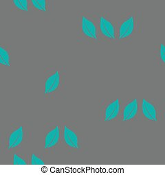 Scattered green leaves on a grey background