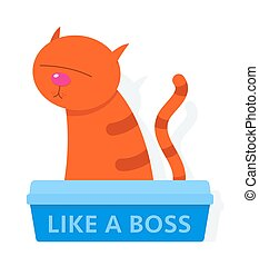 Red cat in a litter box labelled Like A Boss - Cute red...