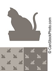 Cat sitting on a litter box silhouette icon as a single...