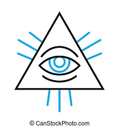 Human eye symbol inside a pyramid - Isolated single human...