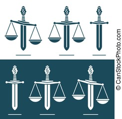Scales of justice on a broadsword - Scales of justice vector...
