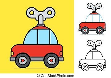 Cute little red cartoon windy car with a large mechanical...