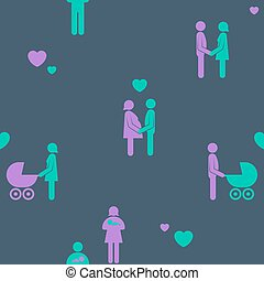 Family relationship or childbirth seamless pattern - Family...