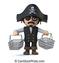 3d Pirate captain goes shopping