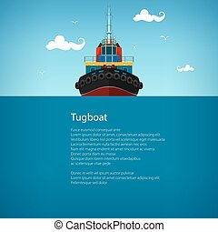 Front View of the Tugboat , Poster - Front View of the...