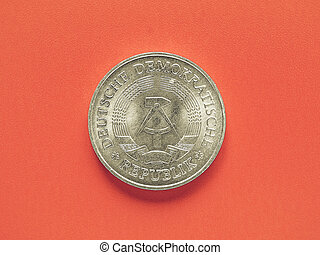 Vintage German DDR coin - Vintage looking One Mark coin from...