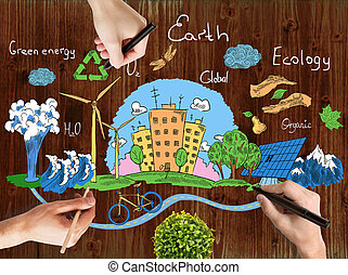 Green world concept - Male hands drawing creative doodle of...