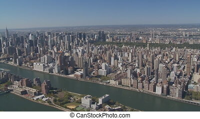 aerial view east river new york city - aerial view east...