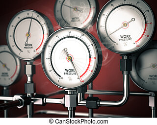 Overwork or Burnout - 3D illustration of gauges with one...