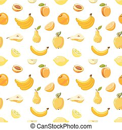 Yellow fruits seamless pattern over white background
