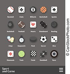 Flat material design icons set - sport and game collection