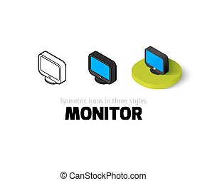 Monitor icon in different style - Monitor icon, vector...