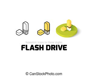Flash drive icon in different style - Flash drive icon,...