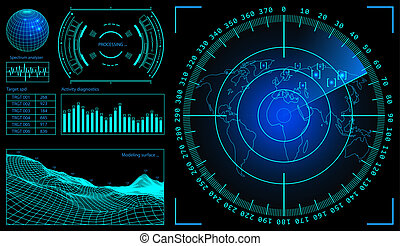 Military green radar. Wireframe landscape . Screen with...