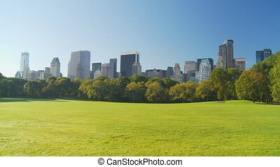 beautiful morning in park pan shot - sheep meadow in central...