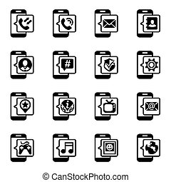Vector Mobil icon set on white background