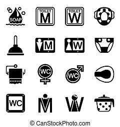 Vector Toilet icon set on white background