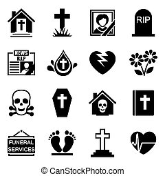 Vector Funeral icon set on white background
