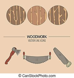 Woodwork vector icons - Line style vector set of woodwork...